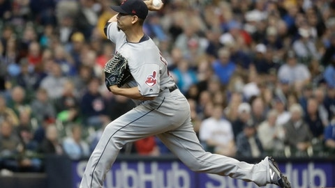 Cleveland Indians starting pitcher Carlos Carrasco throws during the first inning of a baseball game against the Milwaukee Brewers Wednesday, May 9, 2018, in Milwaukee. (AP Photo/Morry Gash)