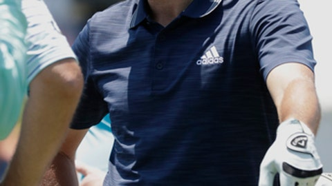 Sergio Garcia, of Spain, waits his turn on the 16th tee during the practice round for The Players Championship golf tournament Wednesday, May 9, 2018, in Ponte Vedra Beach, Fla. (AP Photo/ John Raoux )