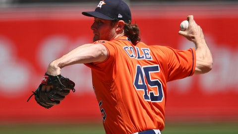 Houston Astros pitcher Gerrit Cole works against the Oakland Athletics during the first inning of a baseball game Wednesday, May 9, 2018, in Oakland, Calif. (AP Photo/Ben Margot)