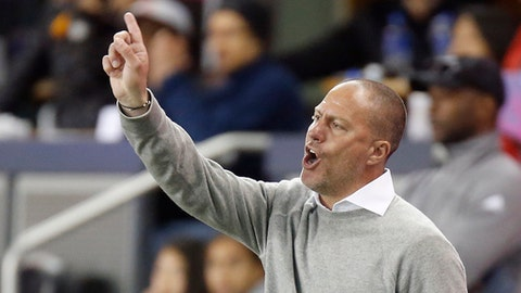 FILE - In this Saturday, May 5, 2018, file photo, Portland Timbers coach Giovanni Savarese reacts to a call will standing on the sidelines during the second half of an MLS soccer match against San Jose Earthquakes in San Jose, Calif. The Portland Timbers host the Seattle Sounders on Sunday in the 100th meeting between the two rivals from the Pacific Northwest. (AP Photo/Josie Lepe, File)
