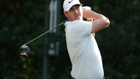 Brooks Koepka hits from the 11th tee, during the first round of The Players Championship golf tournament Thursday, May 10, 2018, in Ponte Vedra Beach, Fla. (AP Photo/Lynne Sladky)