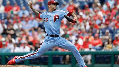 Philadelphia Phillies' Vince Velasquez pitches during the third inning of a baseball game against the San Francisco Giants, Thursday, May 10, 2018, in Philadelphia. (AP Photo/Matt Slocum)