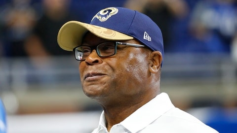 FILE - In this Oct. 16, 2018, file photo, Los Angeles Rams defensive coach Mike Singletary is seen during pre-game warmups of an NFL football game against the Detroit Lions, in Detroit. Singletary is back in football. The Pro Football Hall of Famer has been hired as head coach of the Memphis franchise in the Alliance of American Football that will begin play next February.(AP Photo/Paul Sancya, File)