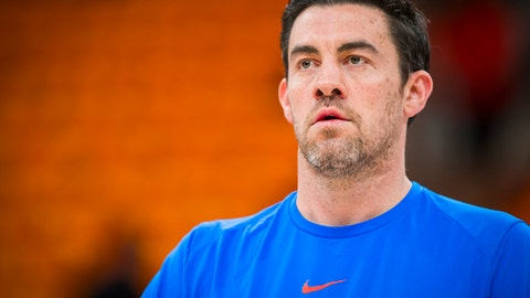 SALT LAKE CITY, UT - APRIL 27: Nick Collison #4 of the Oklahoma City Thunder looks on prior to Game Six of the Western Conference Quarterfinals against the Utah Jazz during the 2018 NBA Playoffs on April 27, 2018 at Vivint Smart Home Arena in Salt Lake City, Utah. (Photo by Zach Beeker/NBAE via Getty Images)