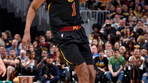 CLEVELAND, OH - MAY 5:  Rodney Hood #1 of the Cleveland Cavaliers handles the ball against the Toronto Raptors during Game Three of the Eastern Conference Semi Finals of the 2018 NBA Playoffs on May 5, 2018 at Quicken Loans Arena in Cleveland, Ohio. (Photo by David Liam Kyle/NBAE via Getty Images)