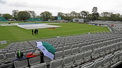 The start of Ireland's inaugural first Test against Pakistan is delayed following overnight rain in Malahide on day one of the International Test Match at The Village in Dublin, Friday May 11, 2018. Ireland plays its inaugural cricket test against Pakistan in the grounds of Malahide Castle on Friday. (Donall Farmer/PA via AP)