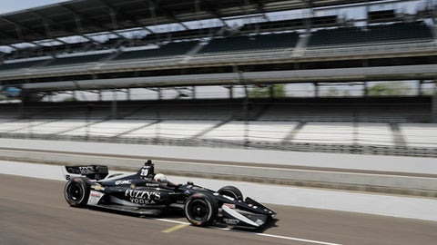 Jordan King, of England, pulls out of the pits during a practice session for the IndyCar Grand Prix auto race at Indianapolis Motor Speedway, in Indianapolis Friday, May 11, 2018. (AP Photo/Darron Cummings)