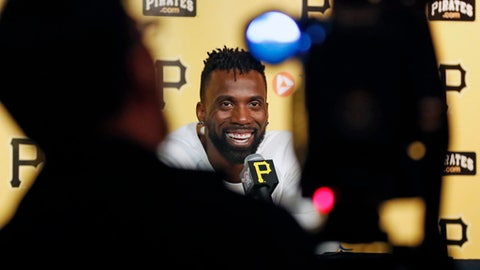 San Francisco Giants' Andrew McCutchen talks with the media before his first baseball game against his old team the Pittsburgh Pirates, Friday, May 11, 2018 in Pittsburgh. (AP Photo/Gene J. Puskar)