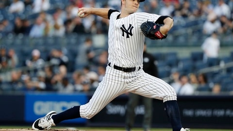 New York Yankees' Sonny Gray delivers a pitch during the first inning of the team's baseball game against the Oakland Athletics on Friday, May 11, 2018, in New York. (AP Photo/Frank Franklin II)