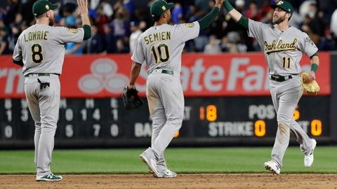 Oakland Athletics' Dustin Fowler (11) celebrates with teammates Marcus Semien (10) and Jed Lowrie (8) after a baseball game against the New York Yankees on Friday, May 11, 2018, in New York. The Athletics won 10-5. (AP Photo/Frank Franklin II)