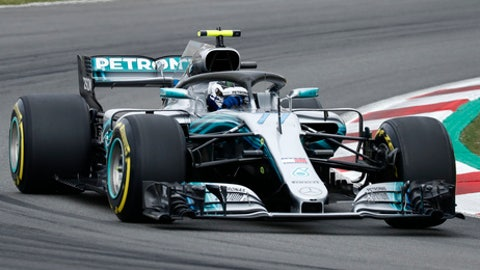 Mercedes driver Valtteri Bottas of Finland steers his car during the third free practice for the Spanish Formula One Grand Prix at the Barcelona Catalunya racetrack in Montmelo, Spain, Saturday, May 12, 2018. The Spanish Formula One Grand Prix will take place on Sunday. (AP Photo/Manu Fernandez)