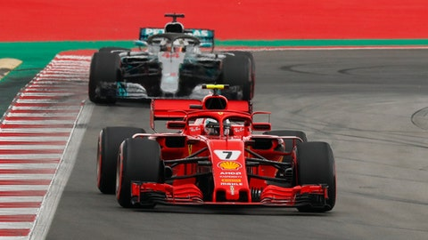 Ferrari driver Kimi Raikkonen of Finland leads Mercedes driver Lewis Hamilton of Britain during the qualifying session for the Spanish Formula One Grand Prix at the Barcelona Catalunya racetrack in Montmelo, Spain, Saturday, May 12, 2018. The Spanish Formula One Grand Prix will take place on Sunday. (AP Photo/Manu Fernandez)