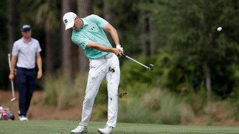 Jordan Spieth hits from the 10th fairway during the third round of the Players Championship golf tournament, Saturday, May 12, 2018, in Ponte Vedra Beach, Fla. (AP Photo/Lynne Sladky)