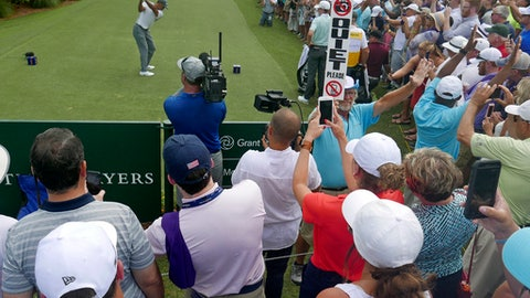 Tiger Woods tees off on the 10th hole during the third round of the The Players Championship golf tournament Saturday, May 12, 2018, in Ponte Vedra Beach, Fla. (AP Photo/John Raoux)