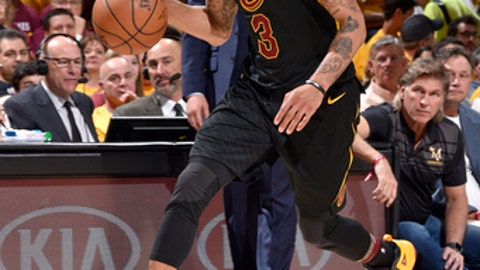 CLEVELAND, OH - MAY 7: George Hill #3 of the Cleveland Cavaliers handles the ball against the Toronto Raptors in Game Four of the Eastern Conference Semifinals during the 2018 NBA Playoffs on May 7, 2018 at Quicken Loans Arena in Cleveland, Ohio. (Photo by David Liam Kyle/NBAE via Getty Images)