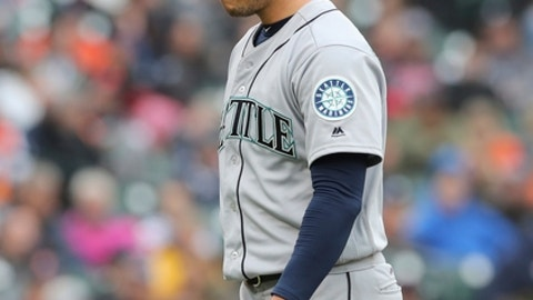 Seattle Mariners starting pitcher Marco Gonzales walks off the mound after the sixth inning of the first game of a baseball doubleheader against the Detroit Tigers, Saturday, May 12, 2018, in Detroit. (AP Photo/Carlos Osorio)