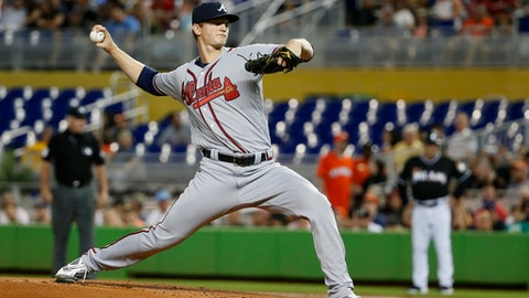 Atlanta Braves' Michael Soroka delivers a pitch during the first inning of a baseball game against the Miami Marlins, Saturday, May 12, 2018, in Miami. (AP Photo/Wilfredo Lee)