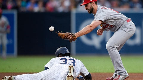St. Louis Cardinals shortstop Paul DeJong, right, is unable to catch the throw as San Diego Padres' Franchy Cordero steals second base during the fourth inning of a baseball game in San Diego, Saturday, May 12, 2018. (AP Photo/Kelvin Kuo)