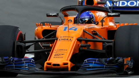 Mclaren driver Fernando Alonso of Spain steers his car during the Spanish Formula One Grand Prix at the Barcelona Catalunya racetrack in Montmelo, Spain, Sunday, May 13, 2018. (AP Photo/Manu Fernandez)