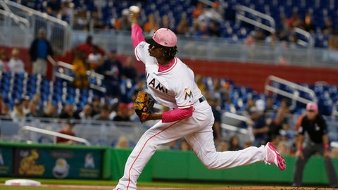 Miami Marlins' Jose Urena delivers a pitch during the first inning of a baseball game against the Atlanta Braves, Sunday, May 13, 2018, in Miami. (AP Photo/Wilfredo Lee)