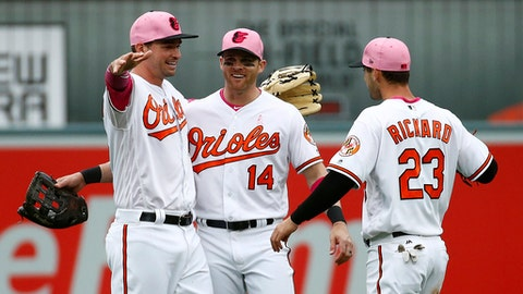 From left to right,Baltimore Orioles outfielders Trey Mancini, Craig Gentry and Joey Rickard celebrate after a baseball game against the Tampa Bay Rays, Sunday, May 13, 2018, in Baltimore. (AP Photo/Patrick Semansky)