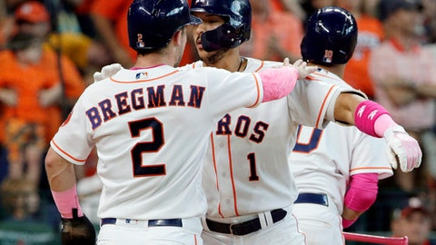 Houston Astros Alex Bregman (2) and Carlos Correa (1) dust each other off at the plate after Correa's two-run home run, scoring them both, during the seventh inning of a baseball game against the Texas Rangers, Sunday, May 13, 2018, in Houston. (AP Photo/Michael Wyke)
