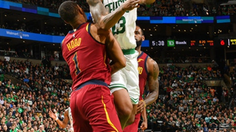 BOSTON, MA - MAY 13: Marcus Morris #13 of the Boston Celtics goes to the basket against the Cleveland Cavaliers during Game One of the Eastern Conference Finals of the 2018 NBA Playoffs on May 13, 2018 at the TD Garden in Boston, Massachusetts. (Photo by Jesse D. Garrabrant/NBAE via Getty Images)