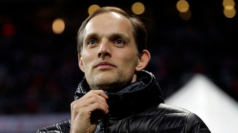 FILE - In this Wednesday, April 26, 2017 file photo, Dortmund's head coach Thomas Tuchel arrives for their German Soccer Cup semifinal match against FC Bayern Munich at the Allianz Arena stadium in Munich, Germany. Paris Saint-Germain has hired former Borussia Dortmund coach Thomas Tuchel, it was announced on Monday, May 14, 2018. He has signed a two-year contract with the French champion.He has been out of a job since Dortmund fired him at the end of last season, days after winning the German Cup. (AP Photo/Matthias Schrader, file)