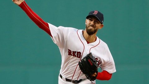 Boston Red Sox starting pitcher Rick Porcello delivers to the Oakland Athletics during the first inning of a baseball game at Fenway Park in Boston Monday, May 14, 2018. (AP Photo/Winslow Townson)