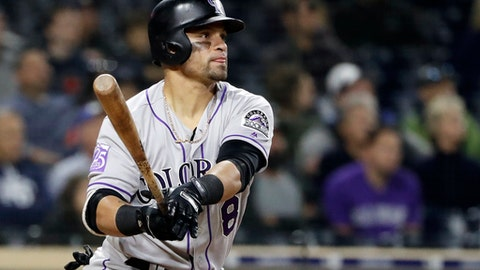 Colorado Rockies' Gerardo Parra watches his three-run home run during the sixth inning of a baseball game against the San Diego Padres, Monday, May 14, 2018, in San Diego. (AP Photo/Gregory Bull)