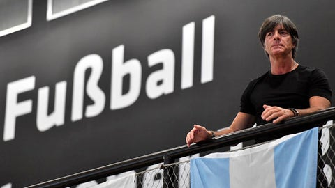 Germany head coach Joachim Loew watches from the gallery prior the presentation of Germany's soccer team for the World Cup in Russia on Tuesday, May, 15, 2018 in the German Football Museum in Dortmund, Germany. (AP Photo/Martin Meissner)