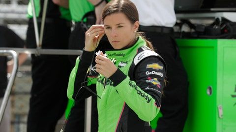 Danica Patrick prepares to drive on the opening day of practice for the Indy 500 auto race at Indianapolis Motor Speedway in Indianapolis, Tuesday, May 15, 2018. (AP Photo/Michael Conroy)