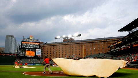 Groundskeepers cover home plate with a tarp during a rain delay before a baseball game between the Philadelphia Phillies and the Baltimore Orioles, Tuesday, May 15, 2018, in Baltimore. (AP Photo/Patrick Semansky)