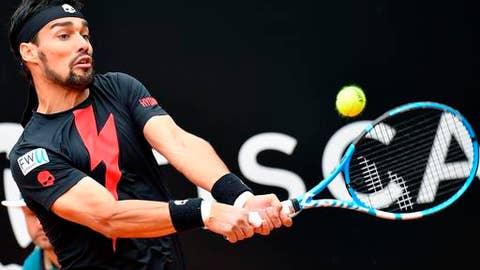 Italy's Fabio Fognini returns the ball to Austria's Dominic Thiem during their Italian Open tennis tournament match, in Rome, Wednesday, May 16, 2018. (Ettore Ferrari/ANSA via AP)
