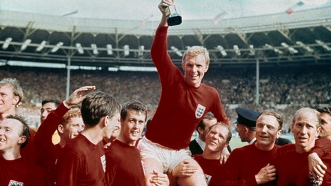FILE - In this July 30, 1966 file photo, England's soccer captain Bobby Moore, center, is carried by teammates Geoff Hurst, center left, and Ray Wilson as he holds FIFA World Cup after England defeated Germany 4-2 in the final at London's Wembley Stadium. Ray Wilson, the left back for all six of England's games in its World Cup-winning campaign in 1966, has died. He was 83. Former club Huddersfield announced Wilsons death on Wednesday, May 16, 2018. (AP Photo, file)