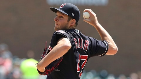 Cleveland Indians starting pitcher Trevor Bauer throws during the first inning of a baseball game against the Detroit Tigers, Wednesday, May 16, 2018, in Detroit. (AP Photo/Carlos Osorio)