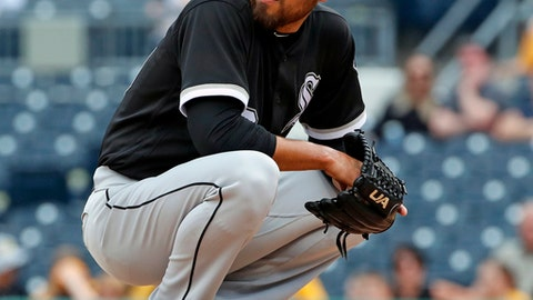 Chicago White Sox relief pitcher Joakim Soria collects himself on the mound during the seventh inning of a baseball game against the Pittsburgh Pirates in Pittsburgh, Wednesday, May 16, 2018. (AP Photo/Gene J. Puskar)