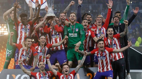 Griezmann fires Atletico Madrid to Europa League title