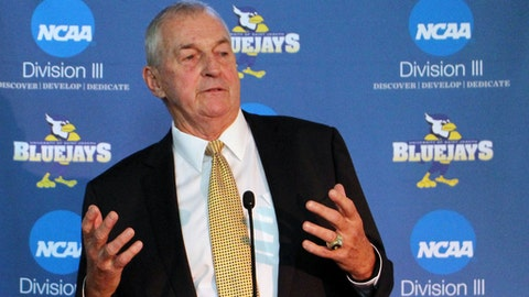 Hall of Fame basketball coach Jim Calhoun speaks after he was introduced at the University of Saint Joseph in West Hartford, Conn. on Thursday, Sept. 28, 2017. Calhoun is coming out of retirement to build a men's basketball program at the Division III school, which will admit men for the first time next fall. (AP Photo/Pat Eaton-Robb)