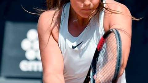 Daria Kasatkina, of Russia, returns the ball to Elina Svitolina, of Ukraine, at the Italian Open tennis tournament in Rome, Thursday, May 17, 2018. (Ettore Ferrari/ANSA via AP)