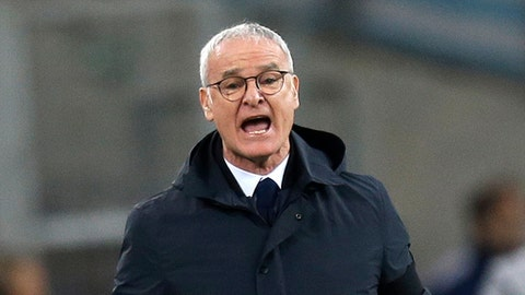 FILE - In this Sunday March 4, 2018 file photo, Nantes' coach Claudio Ranieri shouts instructions at his players during the League One soccer match between Marseille and Nantes, at the Velodrome stadium, in Marseille, southern France. Nantes coach Claudio Ranieri confirmed his departure from Nantes on Thursday May 17, 2018 and is leaving the French club at the end of the season. (AP Photo/Claude Paris, File)