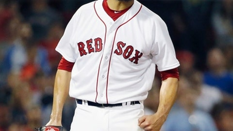 Boston Red Sox's David Price celebrates after Baltimore Orioles' Jonathan Schoop flied out for the final out of a baseball game in Boston, Thursday, May 17, 2018. The Red Sox won 6-2.(AP Photo/Michael Dwyer)