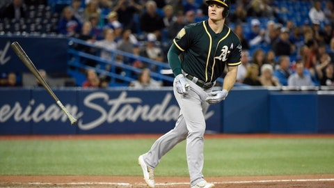Oakland Athletics third baseman Matt Chapman heads to first on a walk during the eighth inning of a baseball game against the Toronto Blue Jays on Thursday, May 17, 2018, in Toronto. (Nathan Denette/The Canadian Press via AP)