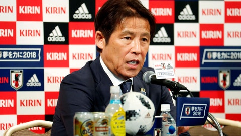 Japan Football Association (JFA) new head coach Akira Nishino attends a press conference in Tokyo Friday, May 18, 2018. Keisuke Honda and Shinji Kagawa were named on Friday to Japan's squad for an international friendly on May 30 against Ghana in Yokohama. (Yohei Fukai/Kyodo News via AP)