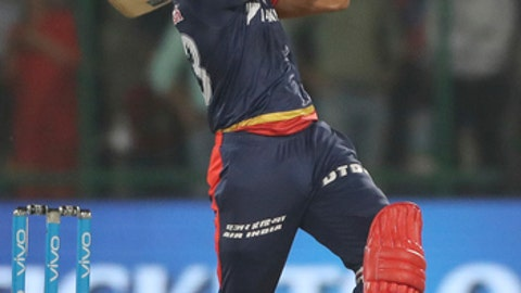 Delhi Daredevils Harshal Patel hits a six during the VIVO IPL Twenty20 cricket match against Chennai Super Kings in New Delhi, India, Friday, May 18, 2018. (AP Photo/Manish Swarup)