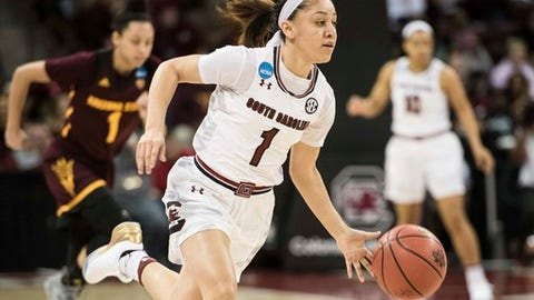 South Carolina guard Bianca Cuevas-Moore (1) brings the ball up against Arizona State during a second-round game in the NCAA women's college basketball tournament Sunday, March 19, 2017, in Columbia, S.C. (AP Photo/Sean Rayford)