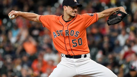 Houston Astros starting pitcher Charlie Morton delivers during the first inning of the team's baseball game against the Cleveland Indians, Friday, May 18, 2018, in Houston. (AP Photo/Eric Christian Smith)