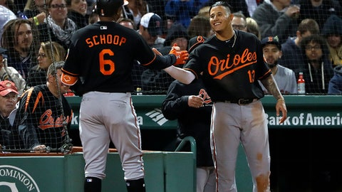 Baltimore Orioles' Jonathan Schoop (6) is greeted by teammate Manny Machado after Schoop's home run against the Boston Red Sox during the seventh inning of a baseball game at Fenway Park in Boston on Friday, May 18, 2018.(AP Photo/Winslow Townson)