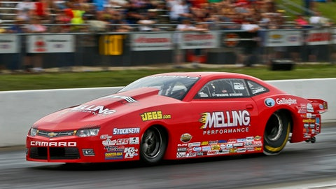NHRA Pro Stock driver Erica Enders races down the track during the Menards NHRA Heartland Nationals on Friday, May 18, 2018, at Heartland Motorsports Park in Topeka, Kan. Enders ended the night as the top qualifier. (Chris Neal/The Topeka Capital-Journal via AP)
