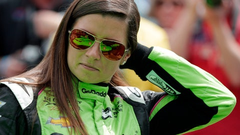 Danica Patrick waits during qualifications for the IndyCar Indianapolis 500 auto race at Indianapolis Motor Speedway in Indianapolis, Saturday, May 19, 2018. (AP Photo/Darron Cummings)